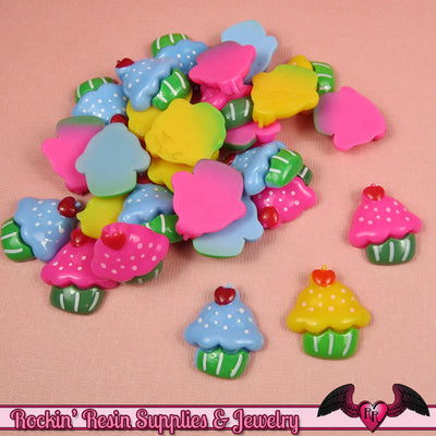 5 pc CUP CAKES Sweets  Decoden Kawaii Flatback Resin Cabochons 19x17mm - Rockin Resin  - 1
