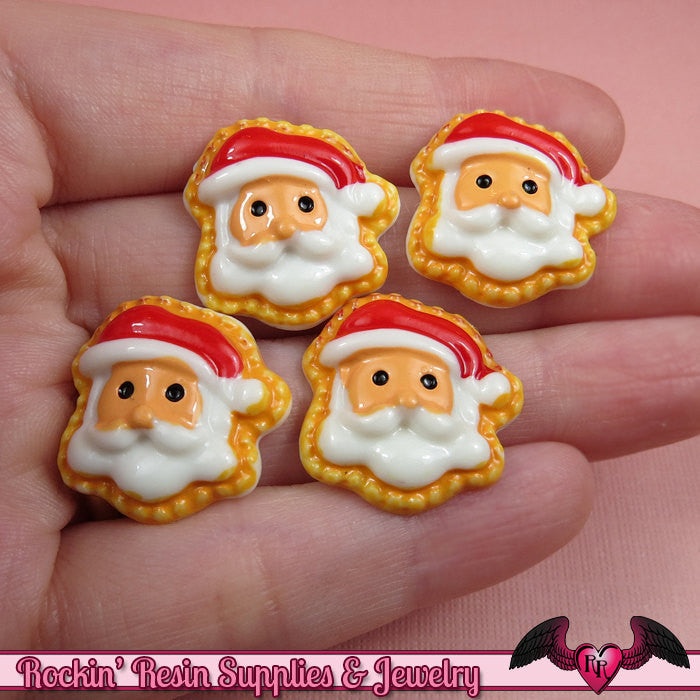 5 pc SANTA Christmas Holiday Resin Flatback Decoden Cabochons  22mm