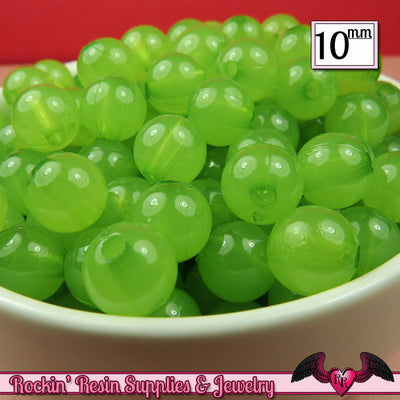 10mm LIME Green JELLY GUMBALL Beads (50 pieces) - Rockin Resin  - 1