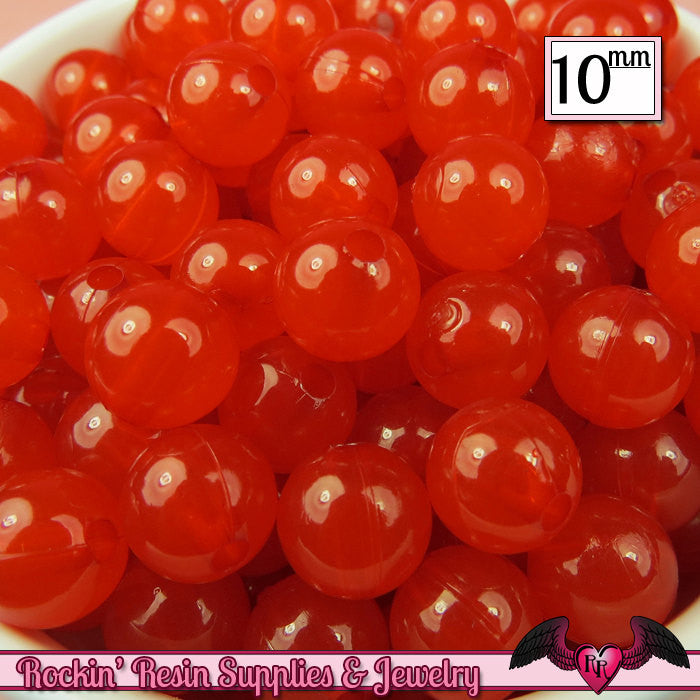10mm RED JELLY GUMBALL Beads (50 pieces)