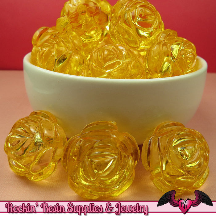 25mm Large YELLOW Transparent Rose Flower Beads (8 pieces)