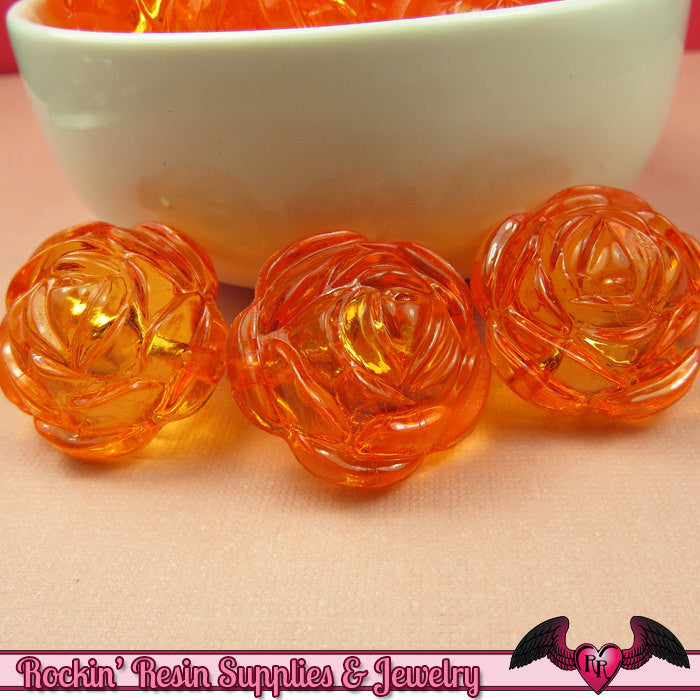 25mm Large ORANGE Transparent Rose Flower Beads (8 pieces)