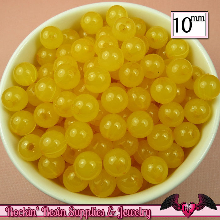 10mm YELLOW JELLY GUMBALL Beads (50 pieces)