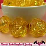 25mm Large YELLOW Transparent Rose Flower Beads (8 pieces) - Rockin Resin  - 2