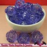 25mm Large LIGHT PURPLE Transparent Rose Flower Beads (8 pieces) - Rockin Resin  - 2