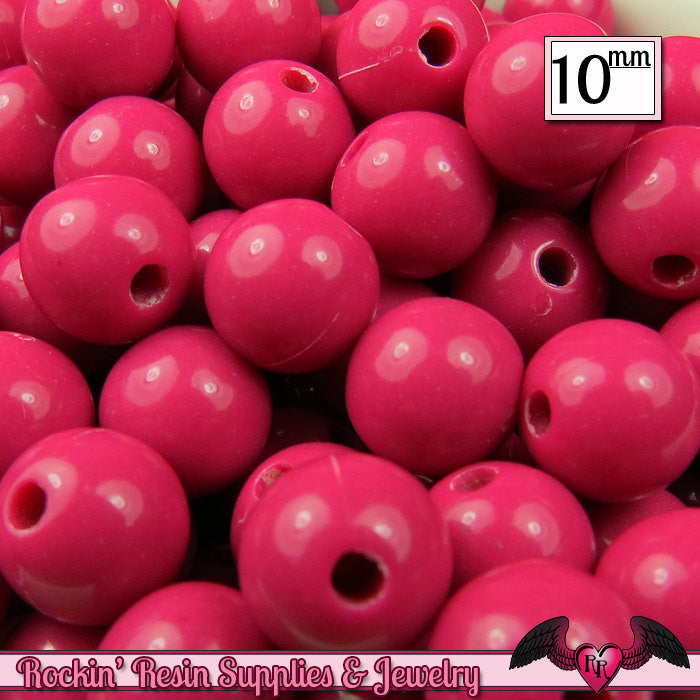 10 mm FUCHSIA PINK Round Acrylic Bubblegum Beads (50 pieces)