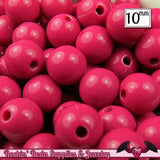 10 mm FUCHSIA PINK Round Acrylic Bubblegum Beads (50 pieces) - Rockin Resin  - 1