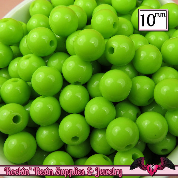 10 mm GREEN Round Acrylic Bubblegum Beads (50 pieces)