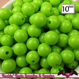10 mm GREEN Round Acrylic Bubblegum Beads (50 pieces) - Rockin Resin  - 1