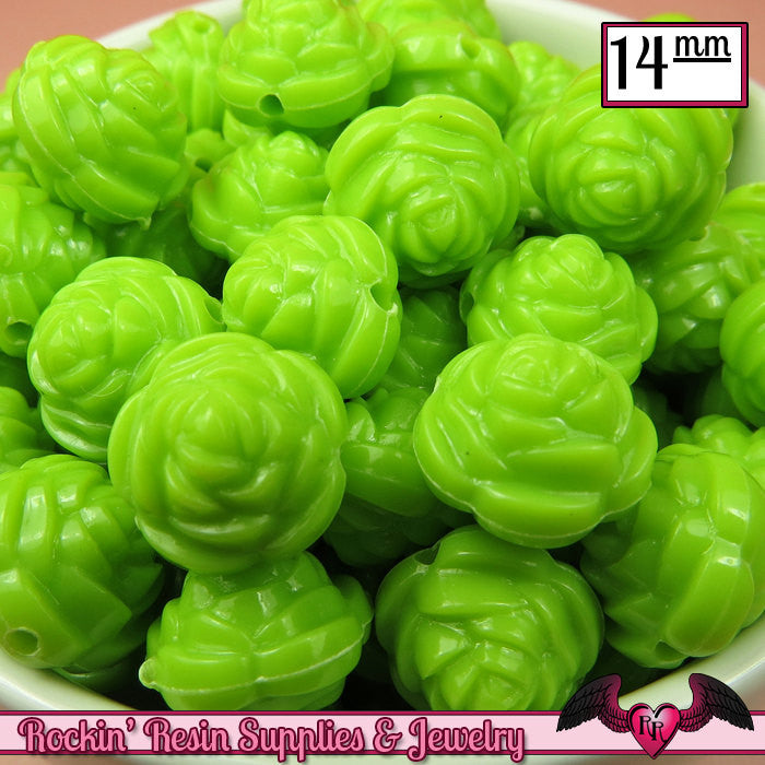 14mm GREEN Rose Flower Beads (25 pieces)
