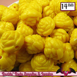 14mm YELLOW Rose Flower Beads (25 pieces) - Rockin Resin  - 2