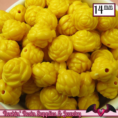 14mm YELLOW Rose Flower Beads (25 pieces) - Rockin Resin  - 1