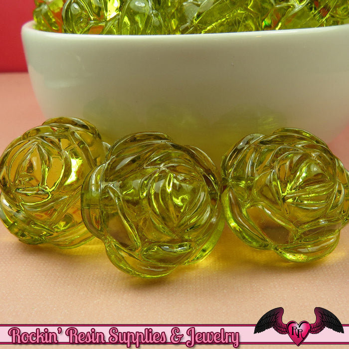 25mm Large GREEN Transparent Rose Flower Beads (8 pieces)
