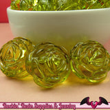 25mm Large GREEN Transparent Rose Flower Beads (8 pieces) - Rockin Resin  - 1