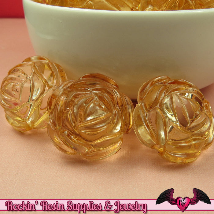 25mm Large BROWN TEA Transparent Rose Flower Beads (8 pieces)