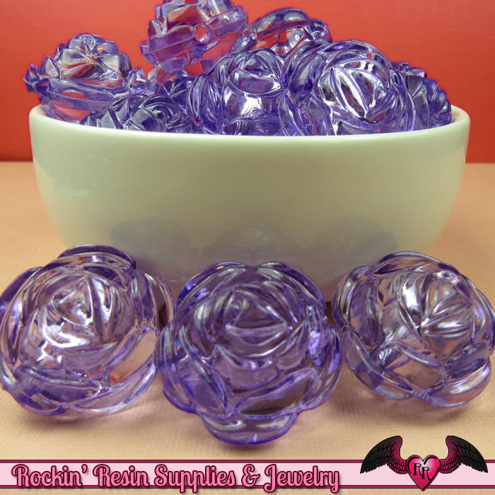 25mm Large LIGHT PURPLE Transparent Rose Flower Beads (8 pieces)
