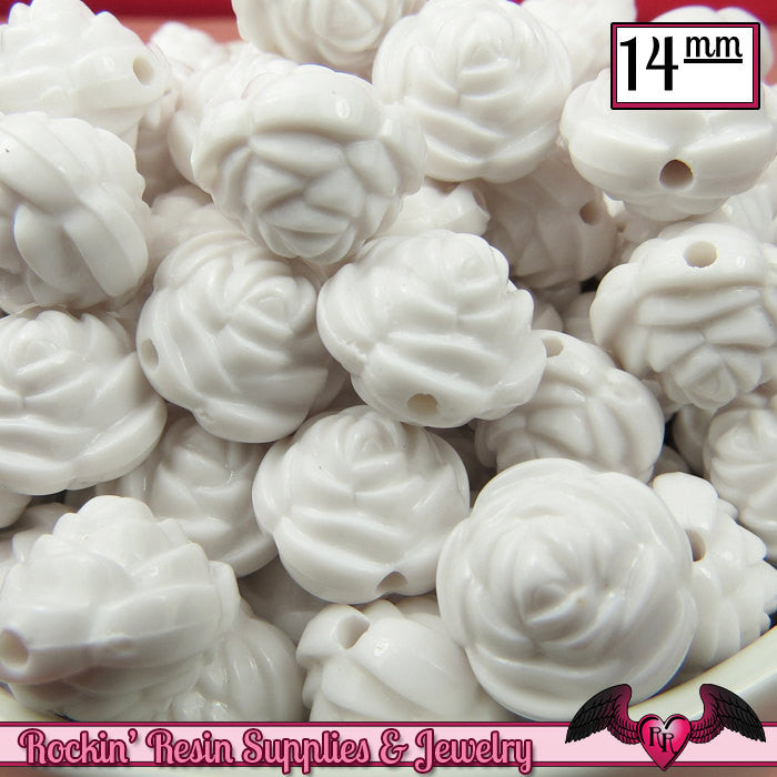 14mm WHITE Rose Flower Beads (25 pieces)