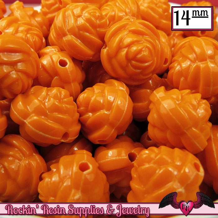 14mm ORANGE Rose Flower Beads (25 pieces)