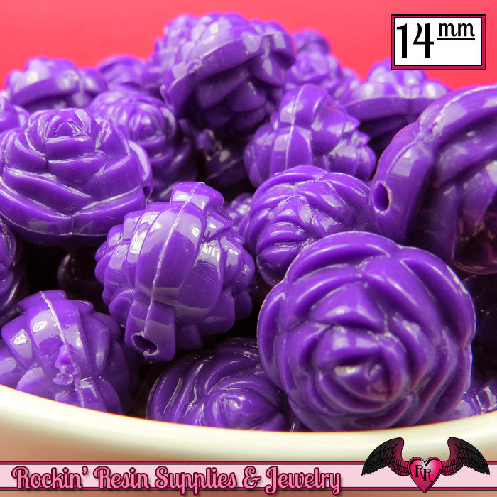 14mm DARK PURPLE Rose Flower Beads (25 pieces)