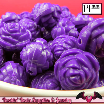 14mm DARK PURPLE Rose Flower Beads (25 pieces) - Rockin Resin  - 1