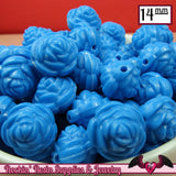 14mm BLUE Rose Flower Beads (25 pieces) - Rockin Resin  - 2