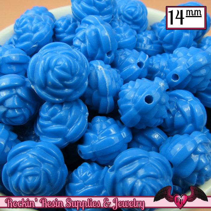 14mm BLUE Rose Flower Beads (25 pieces)