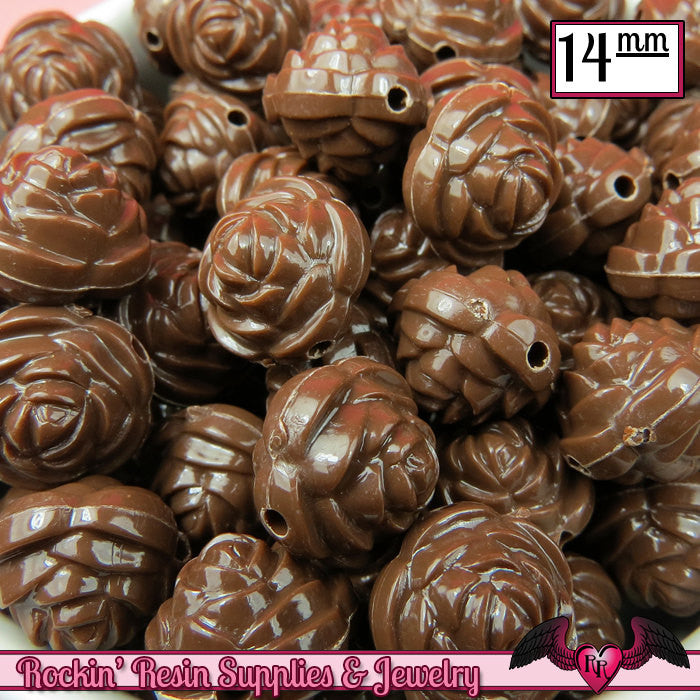 14mm BROWN Rose Flower Beads (25 pieces)