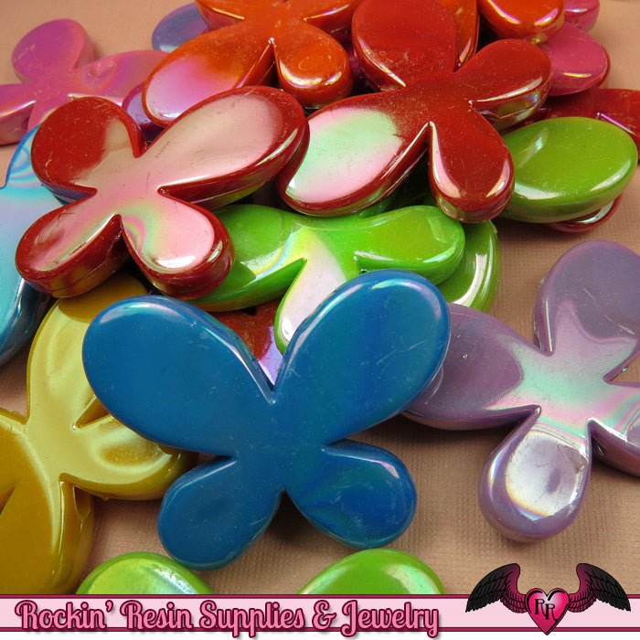 Seconds Beads - Acrylic AB Large Butterfly Beads 46 x 35mm (6 pieces) - Rockin Resin  - 1