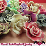 5 pcs Polymer Clay ROSE flatback Cabochons or Beads,   polymer clay flower beads, flower cabochons - Rockin Resin  - 3