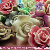 5 pcs Polymer Clay ROSE flatback Cabochons or Beads,   polymer clay flower beads, flower cabochons - Rockin Resin  - 2