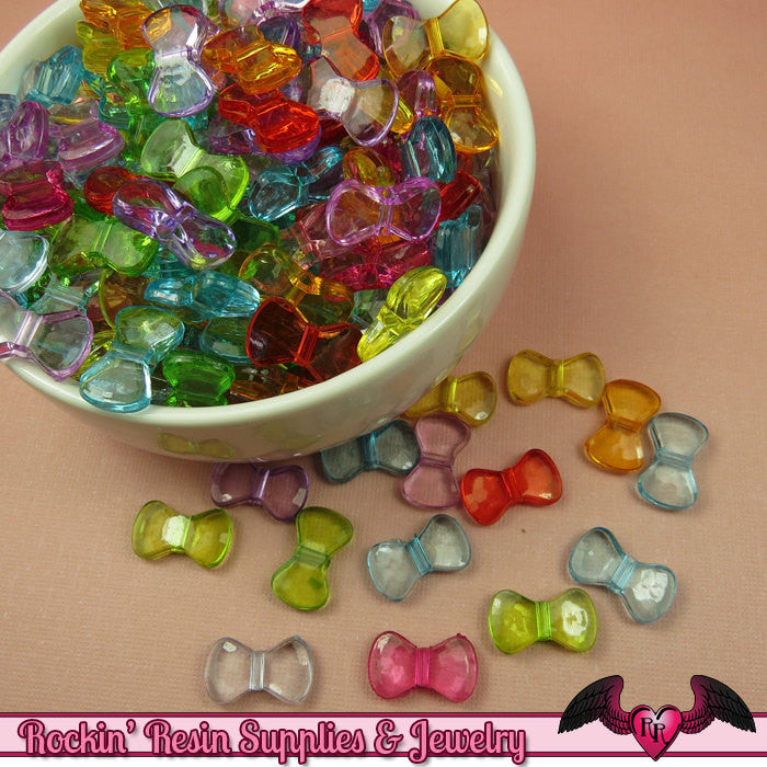 50 pc Small Acrylic BOW Beads 16x9mm