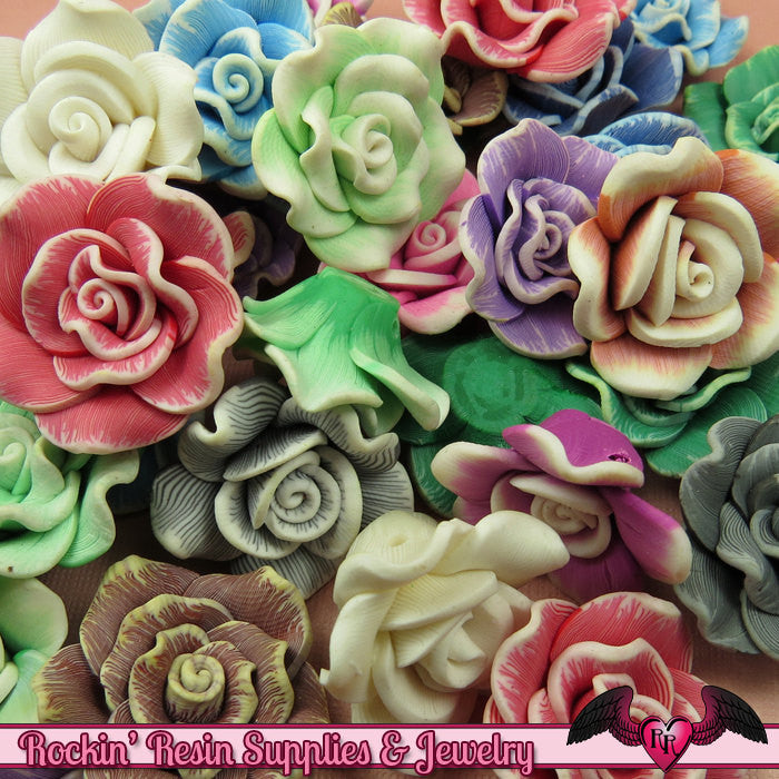 5 pcs Polymer Clay ROSE flatback Cabochons or Beads,   polymer clay flower beads, flower cabochons - Rockin Resin  - 1