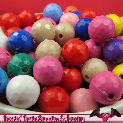 10mm Faceted Round Disco ball Style Acrylic Beads (50 pieces) - Rockin Resin  - 1