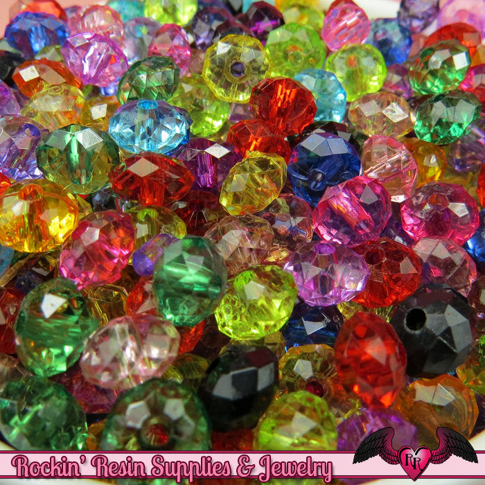 COLORFUL SAUCER Acrylic Beads 8mm x 5.5mm Mixed Assortment  (100 pieces)