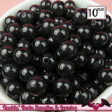 10mm BLACK JELLY Round Acrylic Beads (50 pieces) - Rockin Resin  - 2