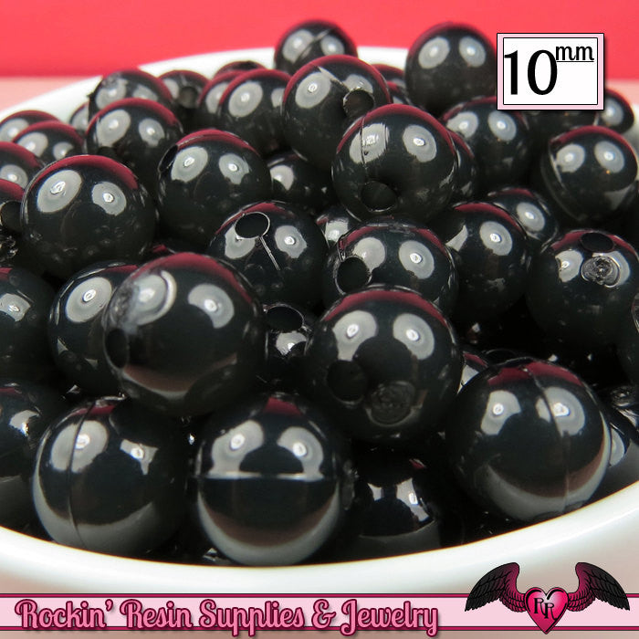 10mm BLACK JELLY Round Acrylic Beads (50 pieces)