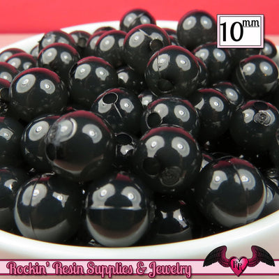10mm BLACK JELLY Round Acrylic Beads (50 pieces) - Rockin Resin  - 1