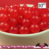 10mm RASPBERRY PINK JELLY Round Acrylic Beads (50 pieces) - Rockin Resin  - 2