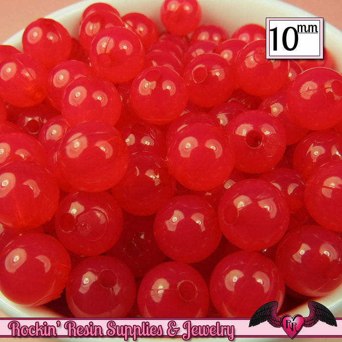 10mm RASPBERRY PINK JELLY Round Acrylic Beads (50 pieces)