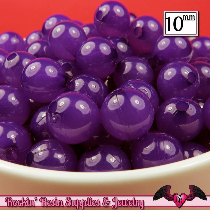 10mm GRAPE PURPLE JELLY Round Acrylic Beads (50 pieces)