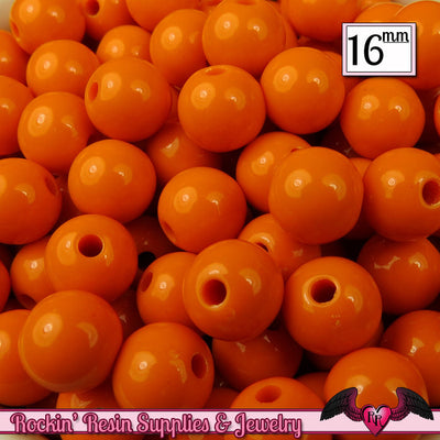 16mm ORANGE GUMBALL Beads (20 pieces) Round Acrylic Beads - Rockin Resin  - 1