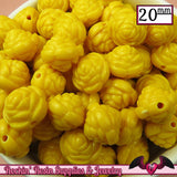 12 FLOWER ROSE BEADS 20mm Yellow Acrylic Flower Beads - Rockin Resin  - 2