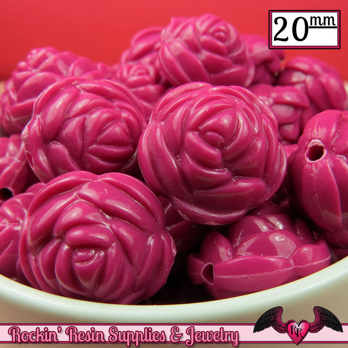 12 FLOWER ROSE BEADS 20mm Fuchsia Pink Acrylic Flower Beads