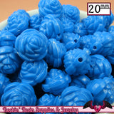 12 FLOWER ROSE BEADS 20mm Blue Acrylic Flower Beads - Rockin Resin  - 2