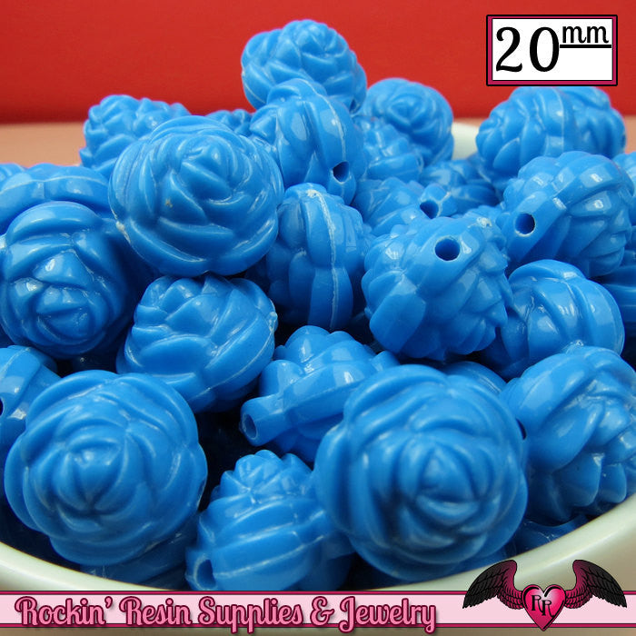 12 FLOWER ROSE BEADS 20mm Blue Acrylic Flower Beads