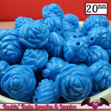 12 FLOWER ROSE BEADS 20mm Blue Acrylic Flower Beads - Rockin Resin  - 1