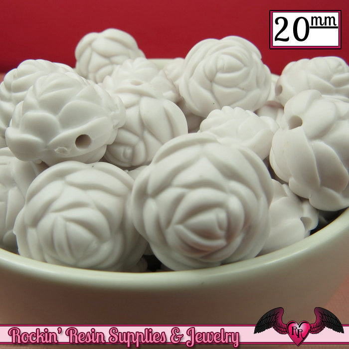 12 FLOWER ROSE BEADS 20mm Matte White Acrylic Flower Beads