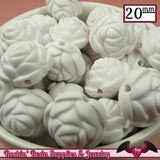 12 FLOWER ROSE BEADS 20mm Matte White Acrylic Flower Beads - Rockin Resin  - 2
