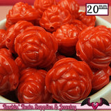 12 FLOWER ROSE BEADS 20mm Red Acrylic Flower Beads - Rockin Resin  - 2