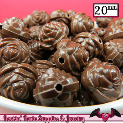 12 FLOWER ROSE BEADS 20mm Brown Acrylic Flower Beads - Rockin Resin  - 1